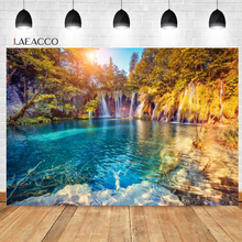 Laeacco Spring Nature Scenery Waterfall Trees Stream Rock Landscape Vinyl Photography Backgrounds Backdrops Photophone Photozone