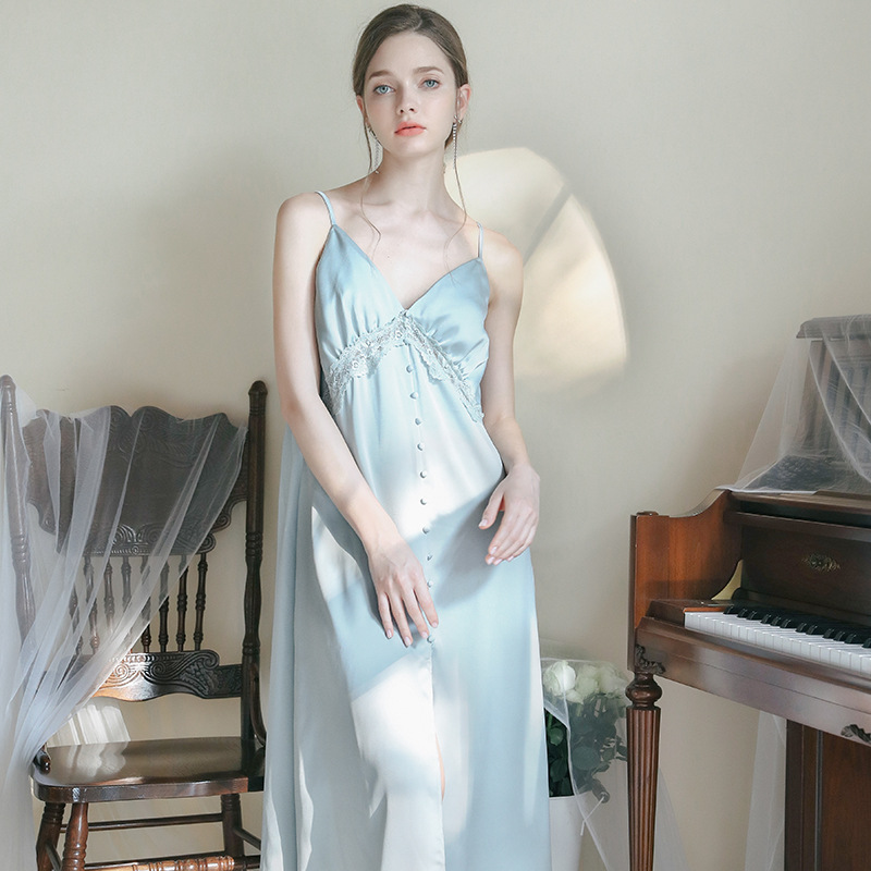 Munllure Nightdress Female Long Section Knee-length Ice Silk Sexy V-neck Sling Thin Section Worn Outside Pajamas Silky Satin