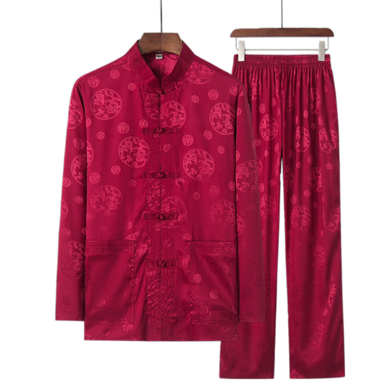 Plus Size  Autumn New Traditional Chinese Style Men's Satin Silky Wu Shu Clothing Long Sleeve Shirt & Pant Kung Fu Tai Chi Suit
