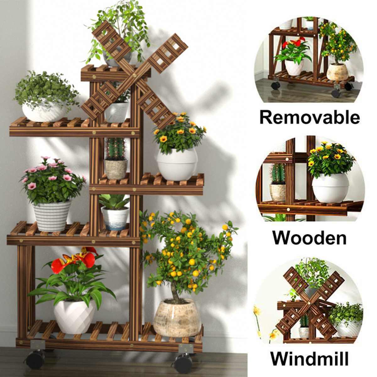 5 Tiers Wooden Flower Stand Rack Plant Stand Flower Plant Shelves Bonsai Display Shelf Yard Garden Ourdoor Balcony Decor