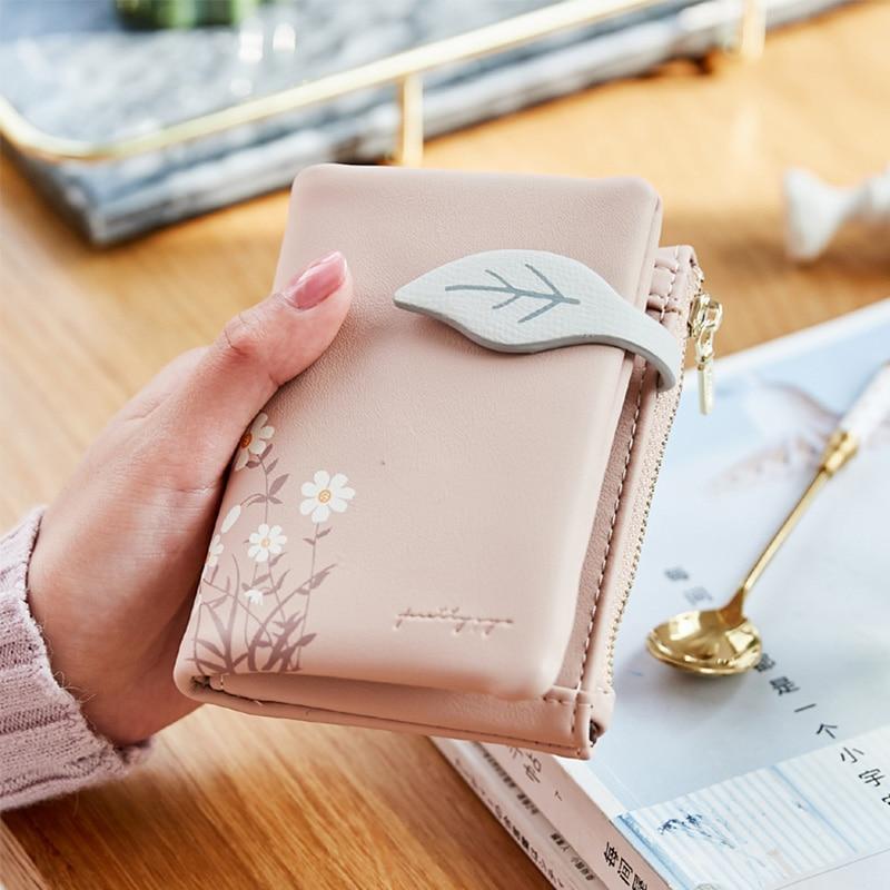 Leaves Small Wallet Women Hasp Zipper Purse Soft Pu Leather Ladies Wallet Card Holder Mini Girl Purse Clutch