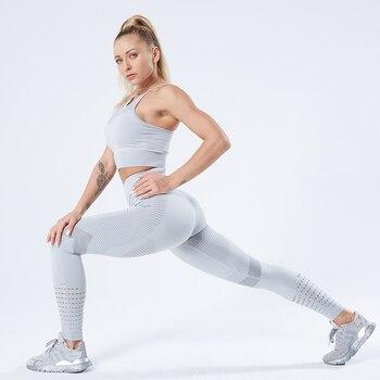 SALSPOR Stretchy Seamless Leggings Women Shark Fitness High Waist Yoga Pants Gym Women Push Up
