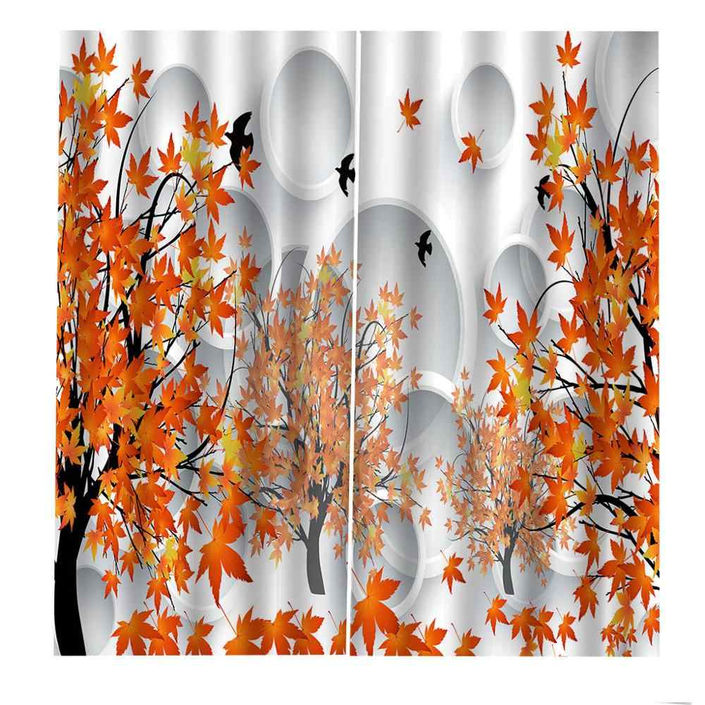 custom curtains for living room kids room curtains girls Beautiful maple leaves high quality curtain The New 3D