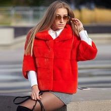 Fashion Red Real Mink Fur Jacket Stand Collar High Quality Women Full Pelt Genuine Mink Fur Coat Short Outwear Trendy Overcoats