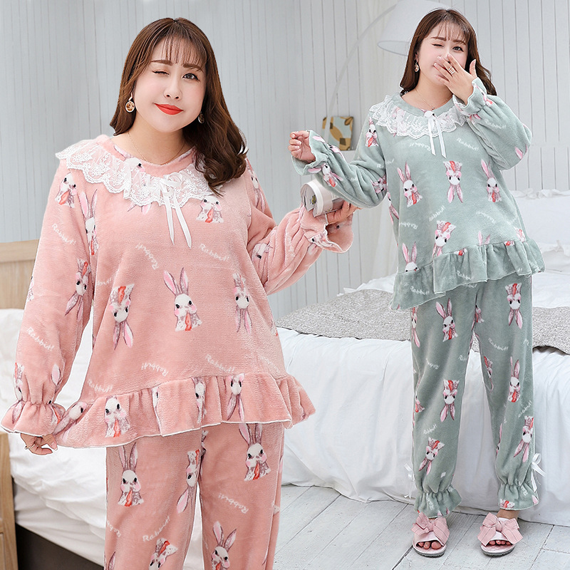 Cartoon Sweet Women's Casual Large Size Pajamas 2018 Autumn And Winter Thick Large Size Leisure Suit K564