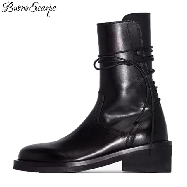 Buono Scarpe Brand Women Cross Tied Ankle Boots Fashion Black Laces Botas Fenimina Casual Zipper Motorcycle Chunky Boots 2019