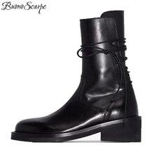 Buono Scarpe marka kobiety krzyż wiązanej botki moda czarne koronki Botas Fenimina w stylu Casual, na zamek błyskawiczny motocykl Chunky buty 2019