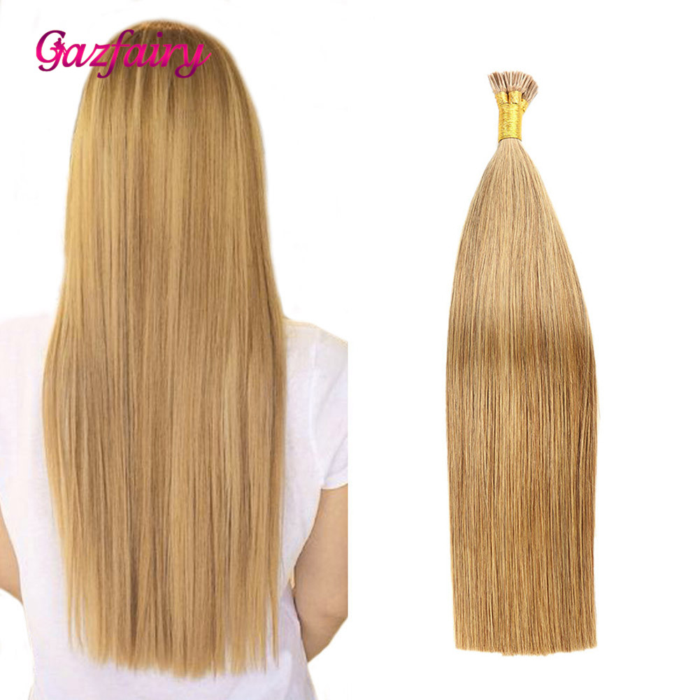 Gazfairy I Tip Hair Silky Straight Remy Keratin Capsules Human Fusion Hair I Tip Pre Bonded Hair Extension 22 Inch 1g/s 50g 100g
