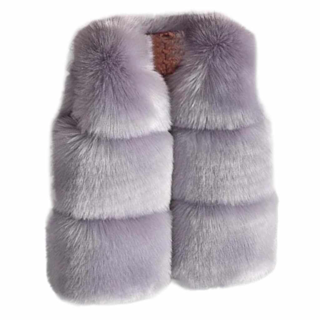 Chaleco de piel sintética para niñas Otoño Invierno moda gruesa chaleco cálido ropa para niños ropa para bebé niña regalo de Navidad