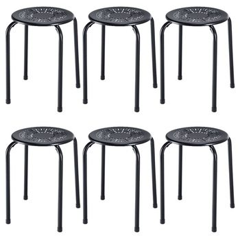 6 Sets Stackable Round Metal Stool Set Modern Black Pink Daisy Design High Quality Non-marring Feet Stool Set HW57883