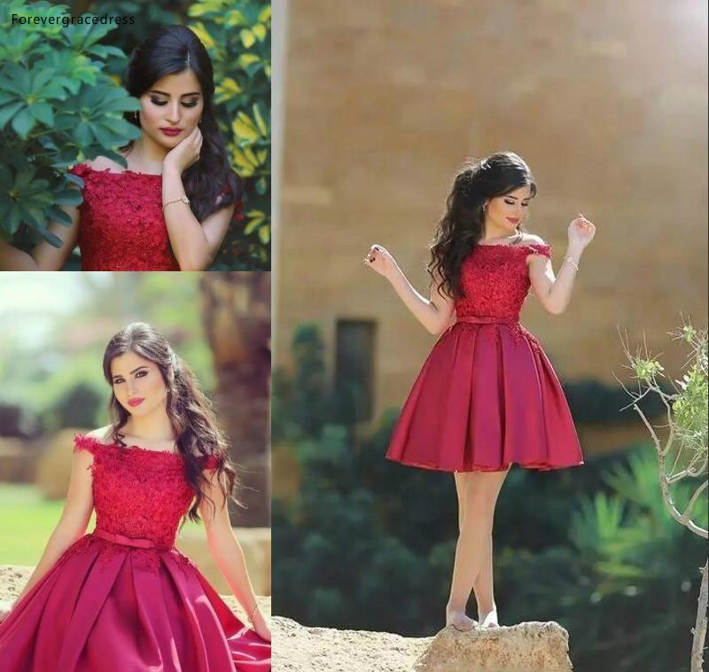 2019 Cheap Little Red Short   Bridesmaid     Dress   Off the Shoulder Knee Length Semi Club Wear Homecoming Party Gown Plus Size