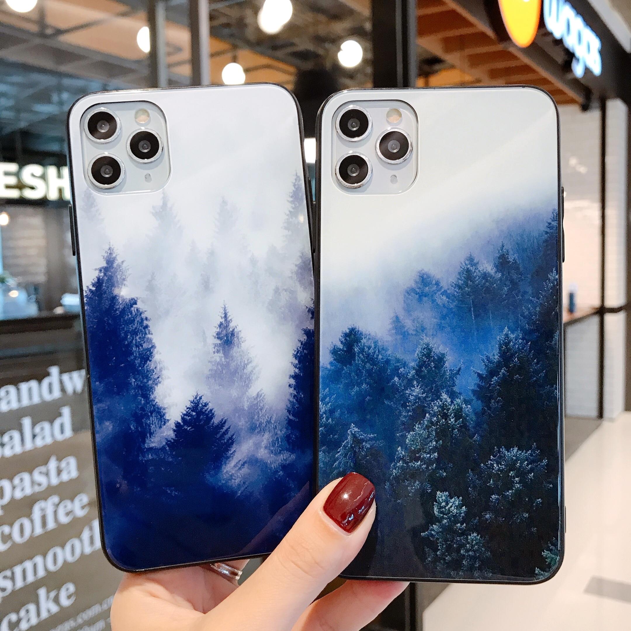 Étui de téléphone en verre trempé pour iPhone 11 Pro XS MAX XR X 7 8 6 6S Plus housse de luxe