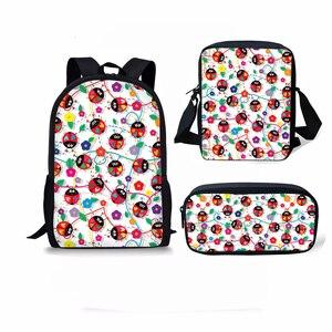NOISYDESIGNS 2020 New Kids School Bags Set 3pcs Children Primary Junior High school Backpack Animals Ladybug Printing Mochilas