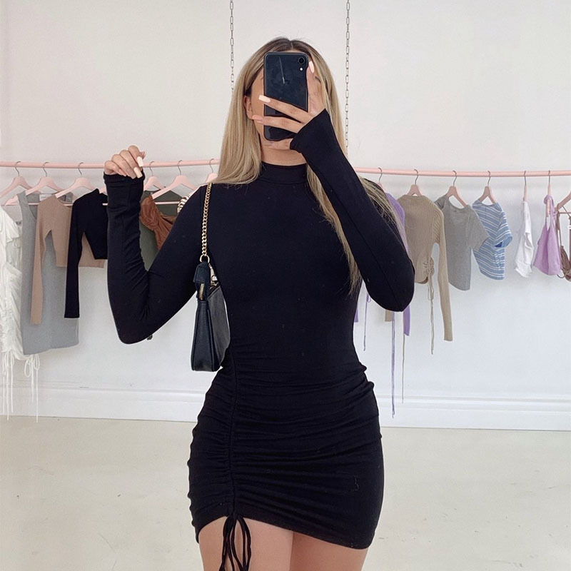 WJFZQM Sexy Ruched Bodycon Mini Dress Women Clothes Fall 2020 Long Sleeve O Neck Lace Up Draped Tight Dresses Woman Party Night