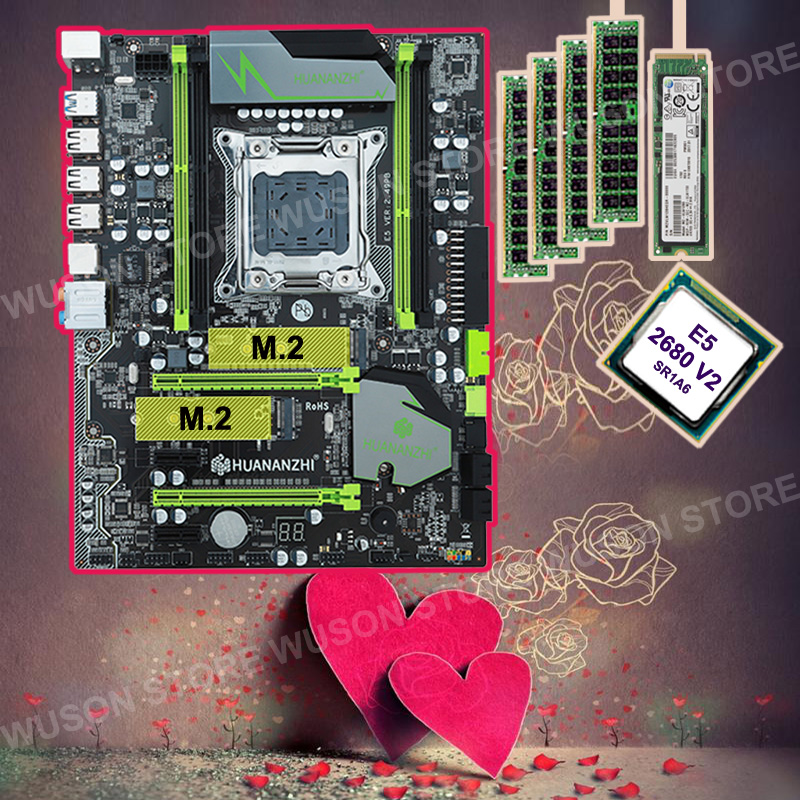 HUANAN ZHI motherboard with M.2 256G SSD discount X79 motherboard with CPU Xeon E5 <font><b>2680</b></font> V2 SR1A6 2.8GHz RAM 4*8G DDR3 1600 RECC image