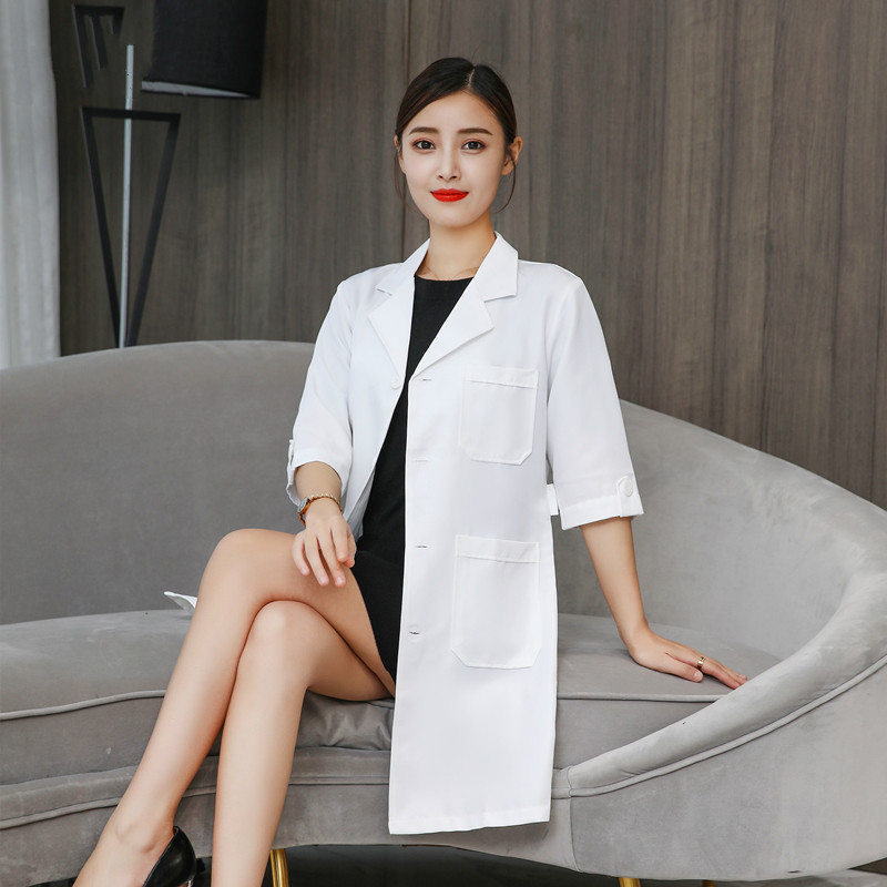 High-end Korean Version White Coat Female Seven Autumn And Winter Plastic Skin Management Semi-permanent Pattern Embroiderer Bea