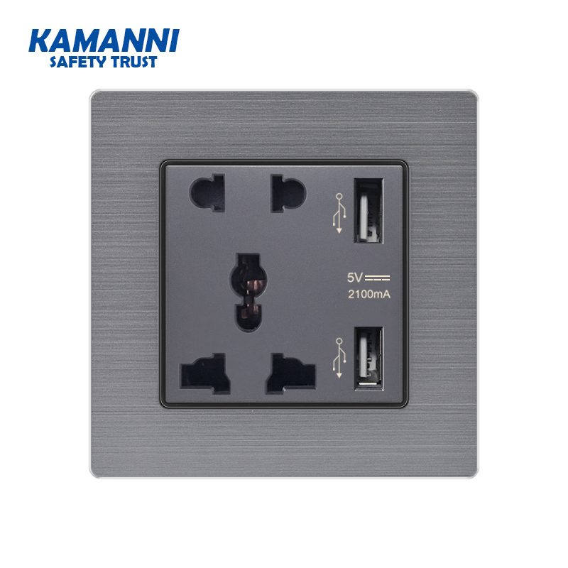 KAMANNI Universal Five-hole Socket Dual USB Port Socket Wall Charger Adapter Rechargeable 2A Wall Charger Adapter Power Socket