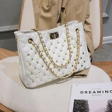 Large Capacity Rivet Fashion Tote Luxury Channels Handbags Women Leather Bags Designer Bolsos Mujer Shoulder Clutch Bag Female