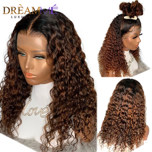 Ombre Brazilian Water Wave Wig For Black Women 150%Density 13X4 Lace Front Wig PrePlucked Blonde Lace Closure Wig With Baby Hair