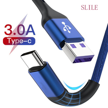 SLILE USB Type C Cable For Samsung  Huawei Fast Charge Type-C Mobile Phone Charging Wire USB C Cable for Samsung S9 S10 S20 5pcs type c dust plug usb charging port protector silicone cover for samsung huawei smart phone accessories