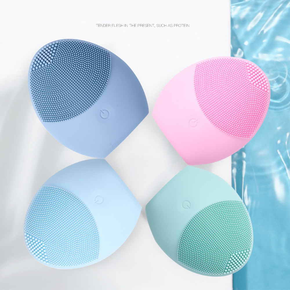 Waterproof Facial Cleansing Brush Sonic Vibration Face Cleaner Silicone Deep Pore Cleaning USB Electric Massage Soft