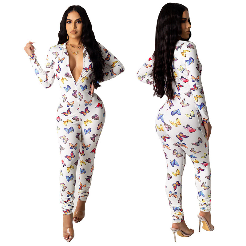 Butterfly Print Long Jumpsuits Women Long Pants Elegant Night Party Jumpsuit Sexy Female Bodycon Overall Plus Size