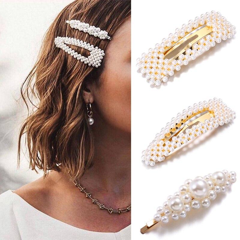 Fashion Pearl Hairpins For Women Gold/Silver 2019 Trendy Hair Accessories Stick Barrettes Hair Pin