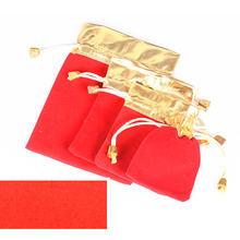 Красный бархатный мешок Высококачественная Золотая сумка для