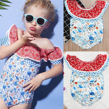Baby Girls One Piece Swimsuit Summer 2020 Girls Off Shoulder Print Ruffled Lace Swimwear shell Swimsuit Toddler Kids Girls A46(China)