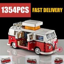 цена на NEW 1354Pcs Creator Camper Racing Van Car Fit Technic City Model Building Block Bricks Toys Gift Kid Set Boy Birthday Christmas