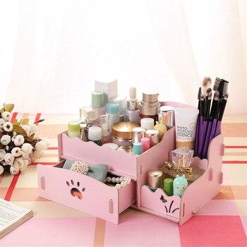 Caja de almacenamiento para maquillaje moda Mini 2 cajones lápiz de madera Material de Oficina de madera caja de almacenamiento escritorio organizar para Halloween