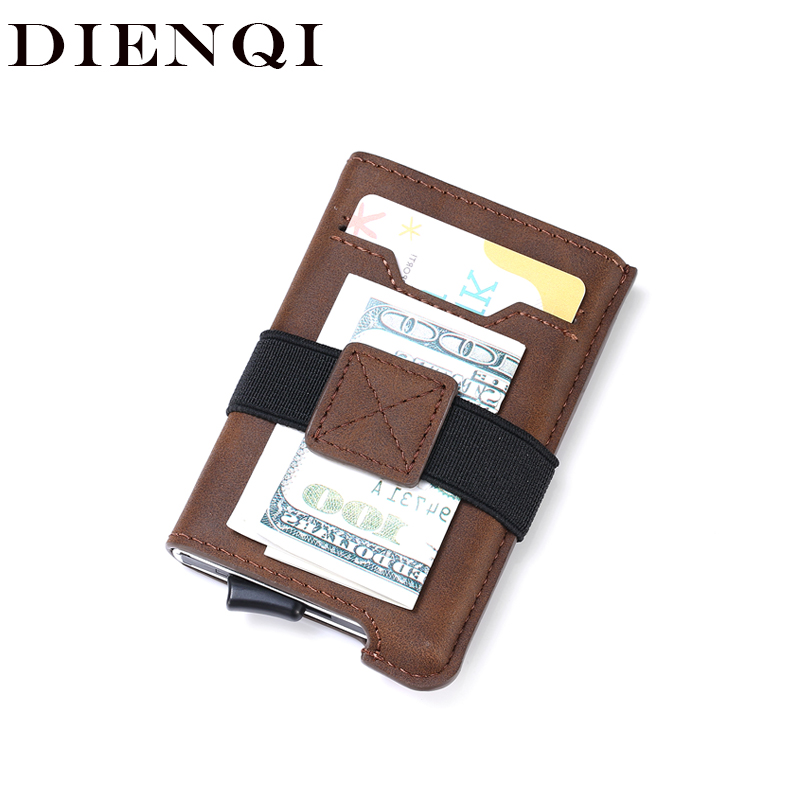 DIENQI Rfid Card Holder Wallets Men High Quality Leather Money Bag Vintage Male Slim Thin Mini Wallet Small Purse Smart Vallet