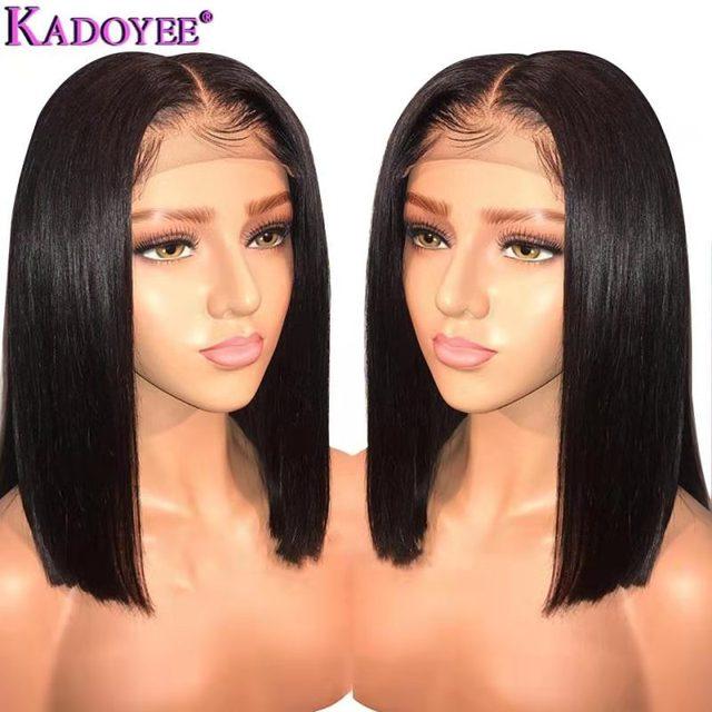 ברזילאי פאה ארוך קצר בוב ישר תחרה מול שיער טבעי פאות אמצע חלק מראש קטף מולבן קשרים רמי שיער פאה עבור נשים