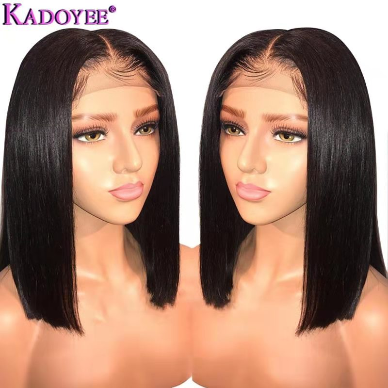 Brazilian Wig Long Short Bob Straight Lace Front Human Hair Wigs Middle Part Pre Plucked Bleached Knots Remy Hair Wig For Women