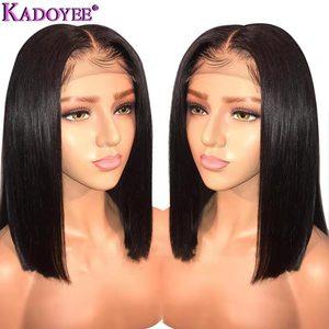 Image 1 - Perruque brésilienne longue courte Bob droite dentelle avant perruques de cheveux humains partie du milieu pré plumé noeuds blanchis Remy perruque de cheveux pour les femmes