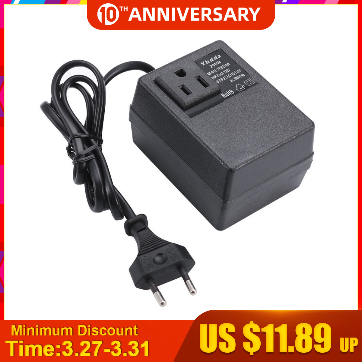 NEW <font><b>200W</b></font> Voltage Converter Transformer <font><b>220V</b></font> <font><b>To</b></font> <font><b>110V</b></font> Step Down Travel EU Plug Voltage Transformer Converter image