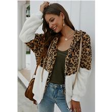 купить Warm Winter Faux Fur Coat And Jackets Women Leopard Print Zipper Up Turn Down Collar Slim Faux Fur Jackets Ladies 2019 дешево