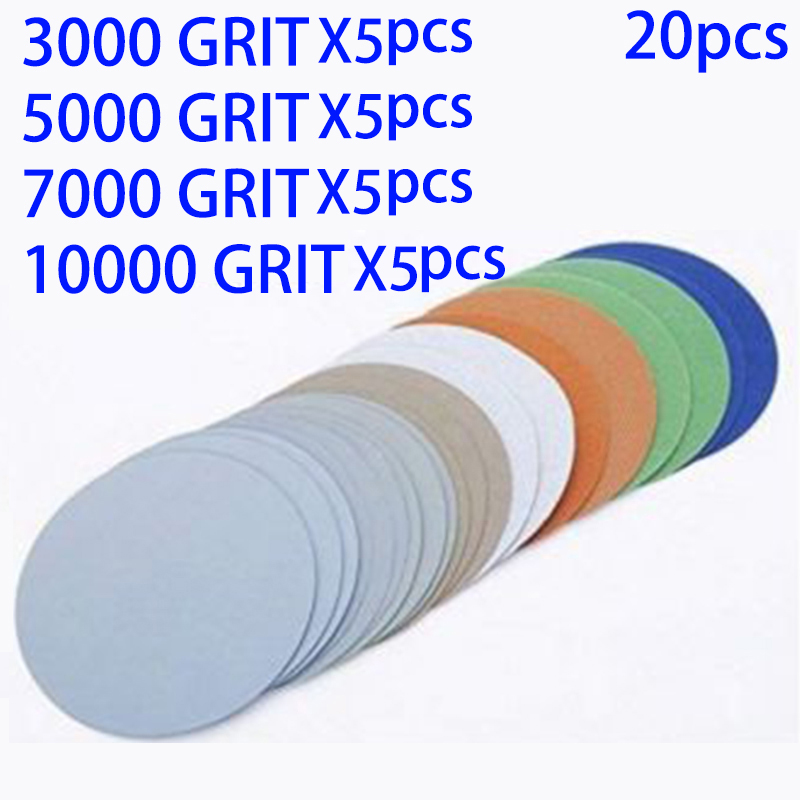20pcs Hook And Loop 3 Inch 3000 5000 7000 10000Grit Sand Paper Sanding Discs For Dry And Wet Grinding Abrasive Tools Accessories