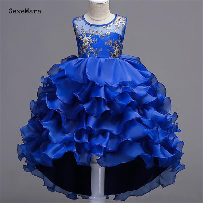 Royal Blue   Flower     Girls     Dresses   Baby Infant Toddler Baptism Clothes Lace Tutu Ball Gowns Birthday Party   Dress   Tiered Skirt
