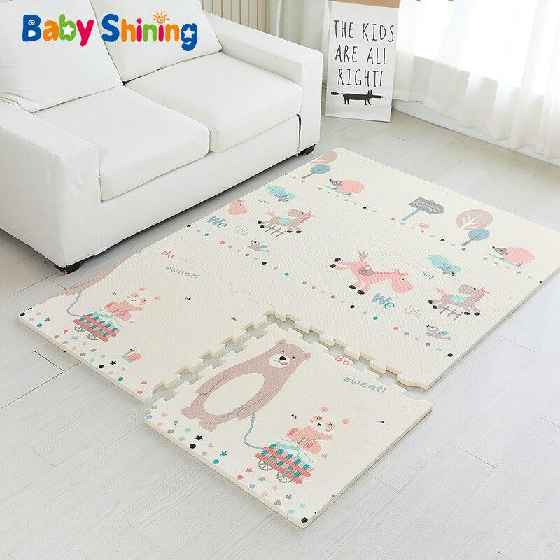 Bébé brillant bébé tapis XPE mousse enfant tapis de jeu 180*120*2CM (71*47 * 0.8in) 6 pièces tapis de sol mousse 0-8Y imperméable salon