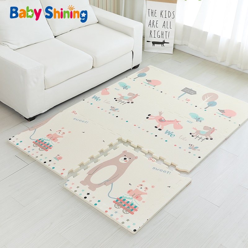 Baby Shining Baby Mat XPE Foam Kid Play Mat 180*120*2CM(71*47*0.8in) 6PCS Floor Mats Foam 0-8Y Waterproof Living Room