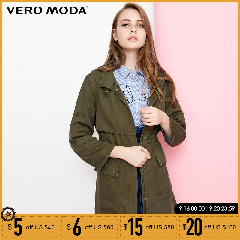 Vero Moda Casual Bowknot Autumn   Trench   Mid Long Coat |318121513