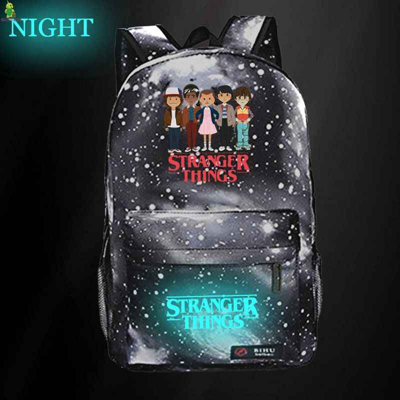 Stranger Things Galaxy Space Backpack Luminous School Bags for Teenage Girls Boys Travel Rucksack Kids Daily Book Bags