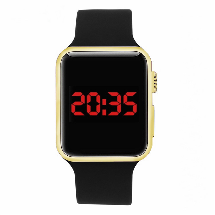 Red electronic LED Watches sports watch LCD electroplate watch student Watch Square Mirror Face Silicone Band Digital Watch