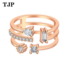 2019 Charm Personalized Anillos Gold Color Cocktail Party Wide Rings for Women three Colors Female Size Jewelry bague