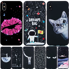 Black TPU Phone Case For iPhone 7 6 6S 8 Plus Girl Lip Cat Moon Space Astronaut Silicone Cases X XS Max XR Pink