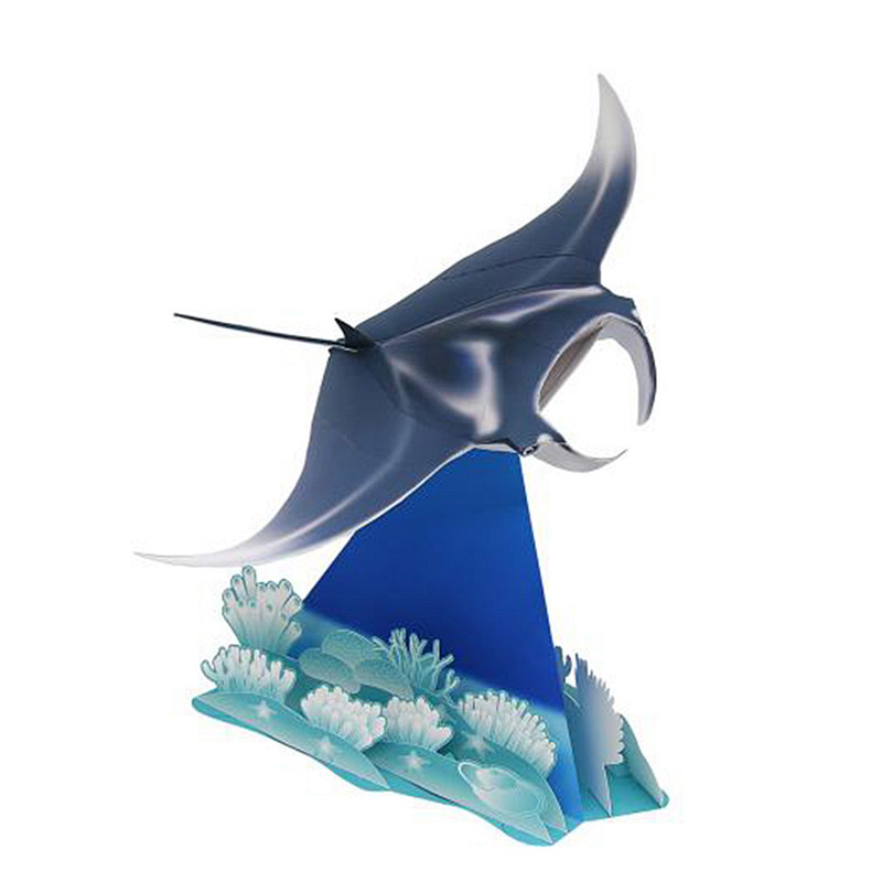 Manta Ray Fish Folding Cutting Mini Cute 3D Paper Model Papercraft Marine Animal Figure DIY Kids Adult Craft Toys QD-090