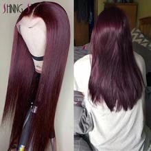 Borgonha frente do laço perucas de cabelo humano 99j peruca de cabelo humano brasileiro reta parte do laço peruca pré-arrancado remy cabelo brilhando estrela 180