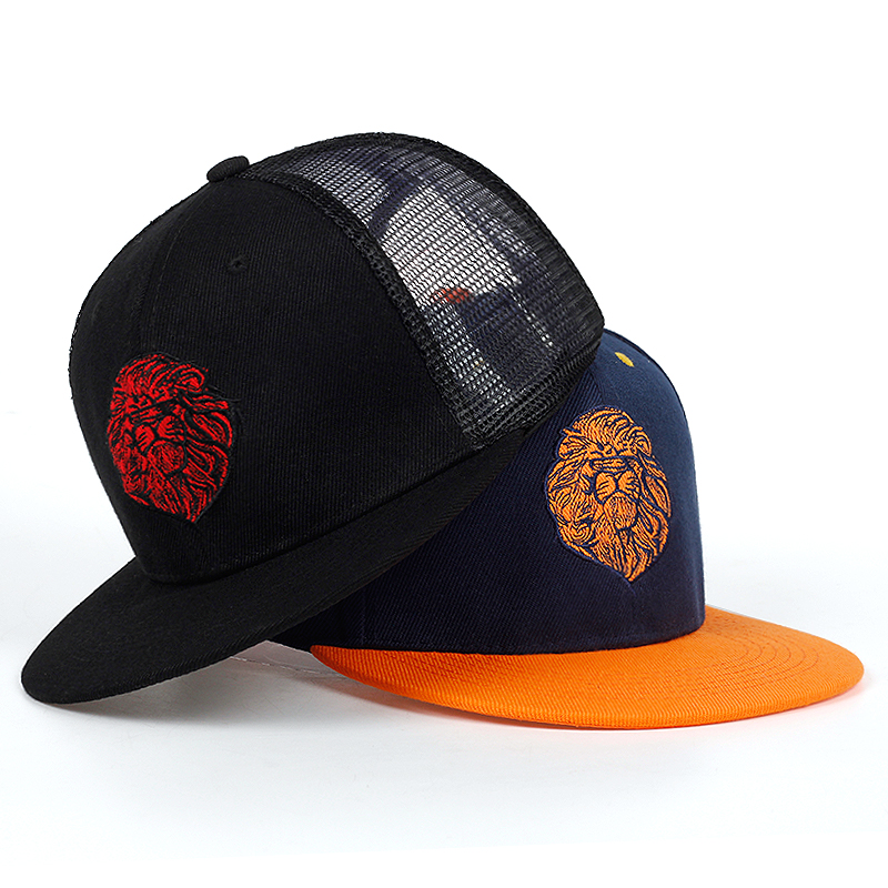 High Quality Lion Face Embroidery Snapback Cap Cool King Hip Hop Hat For Boys And Girls Baseball Cap Hats