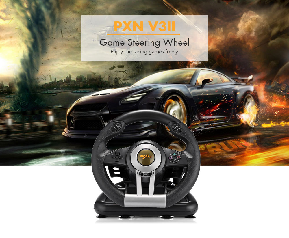 PXN V3II Racing Game Steering Wheel USB Vibration Dual Motor Foldable Pedal Game Controller for PC PS3 PS4 Xbox One PXN-V3II image